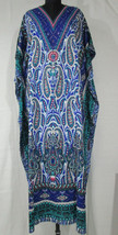 Paisley Decorative Long Kaftan~Beach Gown~Farasha Caftan~Hippie Dress~Free Size - $12.19