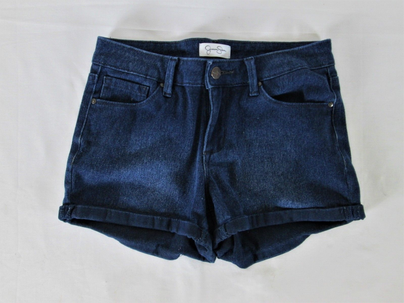 JESSICA SIMPSON WOMENS  26 waist  BLUE DENIM DARK WASH STRETCH SHORT SHORTS (J)