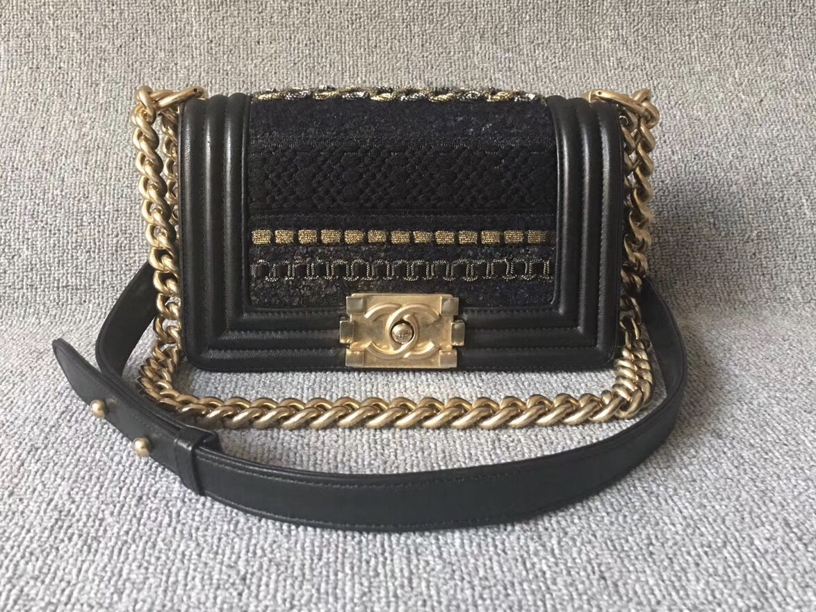 100% AUTHENTIC CHANEL Limited Edition Runway Lace Black SMALL BOY FLAP BAG GHW