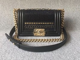100% AUTHENTIC CHANEL Limited Edition Runway Lace Black SMALL BOY FLAP BAG GHW image 1