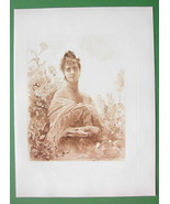 YOUNG MAIDEN Not in Love - Victorian Era Antique Print - $6.75