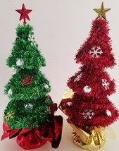 "Decorated Tinsel Mini-Christmas Trees Table Top 10.5"" 1/Pk, Select: Gree... - $2.99"