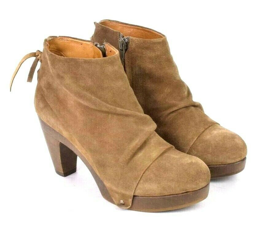 Coclico Brown Suede Leather Ankle Boots Booties Zip Womens EU 37 / US 6.5 - 7