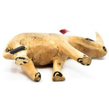 Hand Carved & Painted Jacaranda Wood Santa Hat Rhino Safari Christmas Figure image 5