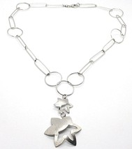 Silver 925 Necklace,Chain Circles,Double Flower,Sun Hanging, Satin - $128.64