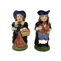 1993 Fitz and Floyd Thanksgiving Banquet Pilgrim Man and Woman Toby Mug Pitchers - $89.99