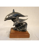 Michael Ricker Pewter Dolphins Ride Wave Sculpture on Wood Base  - $75.00