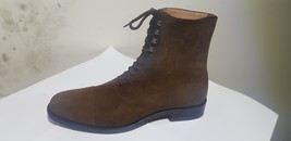 Handmade Men's Chocolate Brown High Ankle Lace Up Suede Boots image 2