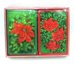 Hallmark POINSETTIA Plastic Coated Bridge Cards in Box Christmas 2 Decks  - $12.34