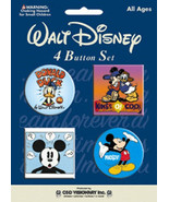 Walt Disney Mickey & Donald Duck Carded Metal Button Pin Set of 4 NEW SE... - $5.94