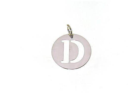 18K WHITE GOLD ROUND MEDAL WITH INITIAL D LETTER D MADE IN ITALY DIAMETER 0.5 IN