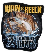 JUMBO 9W 10H RIDIN & REEL'N FISH MY 2 FAVORITE THINGS  Embroidered patch... - $14.98