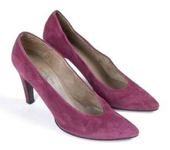 Charles Jourdan France Soft Purple Suede Leather High Heel Pumps Shoes W... - $19.79