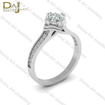 Base Wavy Design Cushion Cut Diamond Engagement Ring Classic Wedding Rin... - €73,18 EUR+