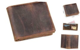 Genuine Leather Wallets for Men-Handmade Vintage Italian Distressed Larg... - $36.02