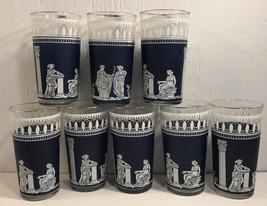 8 Jeannette Glass Co 5 Glasses Tumblers Hellenic Greek Dark Blue & White - $115.92