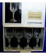 4 Longchamps Gold 6oz Wine Glasses NIB by Cristal d' Arques - $15.69