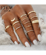 17KM® 12 pcs/set Charm Gold Color Midi Finger Ring Set For Women Vintage... - $4.08