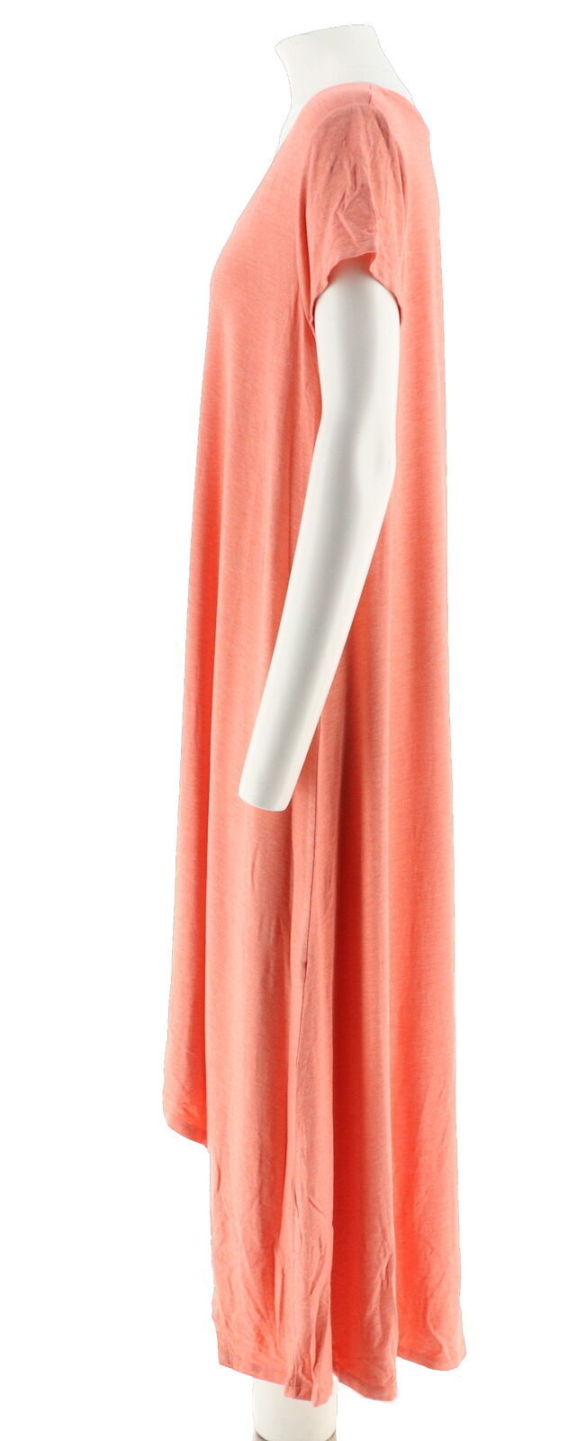 Halston Hi-Low Hem Short Slv Knit Maxi Dress Heather Soft Coral M NEW A274136