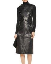 Zipper Details Women Sleeveless Women Leather Top