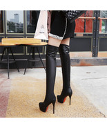 PB093 Sweet Over-the-knee Martin boots, elastic leather, size 33-43, black - $68.80