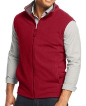 Club Room Men's Anthem Red Full-Zip Fleece Vest Sweater Large L New - £19.17 GBP