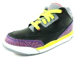 Nike Air Girls Shoes Jordan 3 Retro PS 441141 039 Basketball Black Leath... - $64.99