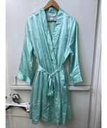 Morgan Taylor Intimates Spotted Green Satin Short Robe & Gown Set Size 1... - $38.95