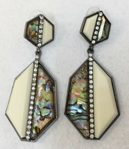Pierced Earrings Sparkly Rhinestone Abalone Cream Ivory Dangle Style Vin... - $9.89