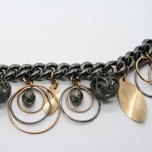 925 STERLING SILVER BURNISHED AND ROSE GOLD PLATED BRACELET CIRCLES & SPHERES image 3
