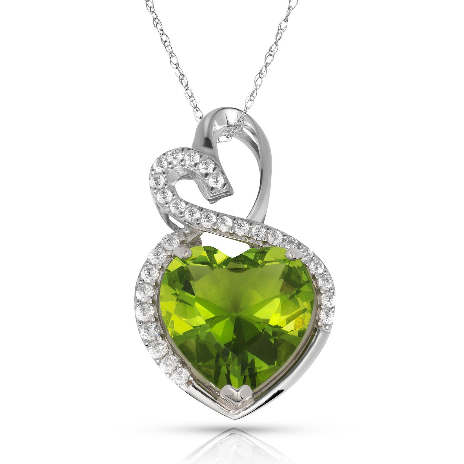 4.20 Carat Halo Peridot Double Heart Gemstone Pendant & Necklace14K White Gold