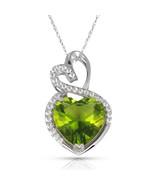 4.20 Carat Halo Peridot Double Heart Gemstone Pendant & Necklace14K Whit... - $150.73