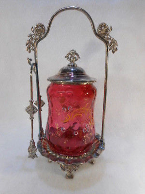 Antique Cranberry Glass Handpainted Victorian Pickle Castor with Tongs Rogers