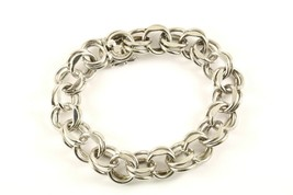 Vintage Double Link Design Bracelet 925 Sterling BR 754 - $71.86