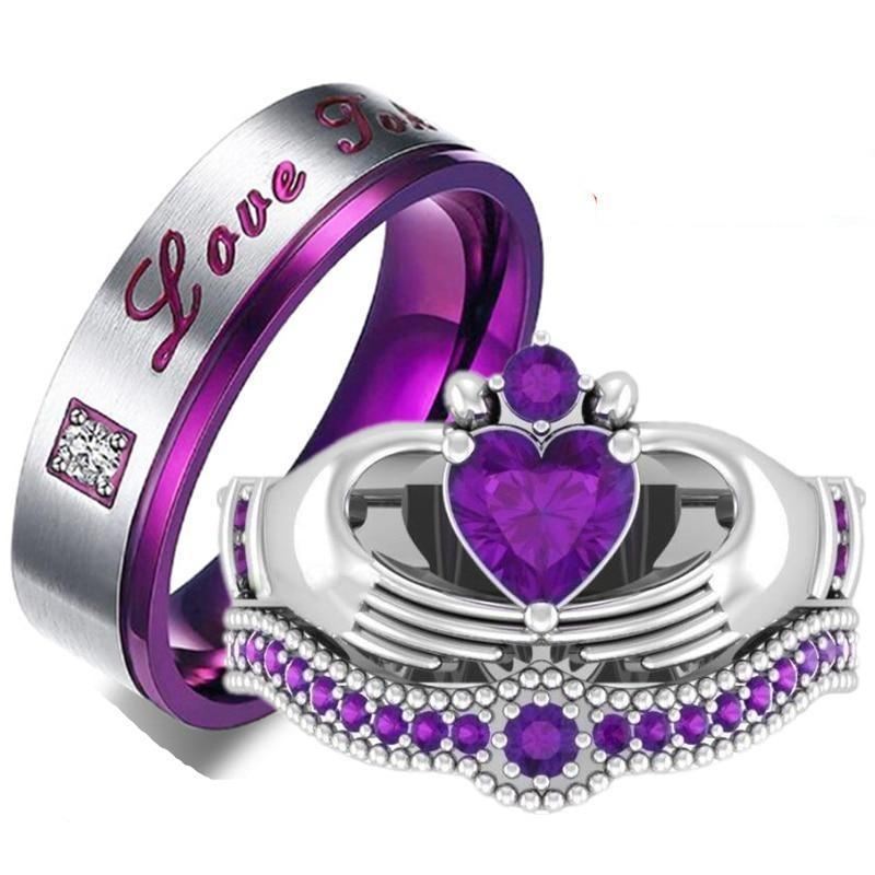 Couple rings men s stainless steel crystal ring women s heart natural purple crystal ring bridal