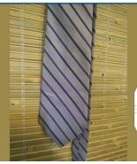 "BROOKS BASICS MEN'S TIE STRIPED LAVENDER BLUE PURE SILK 60"" x 3.5"" MADE ... - $9.80"