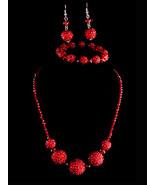 Deep Red Rhinestone necklace / chandelier earrings / Dazzling demi parur... - $70.00