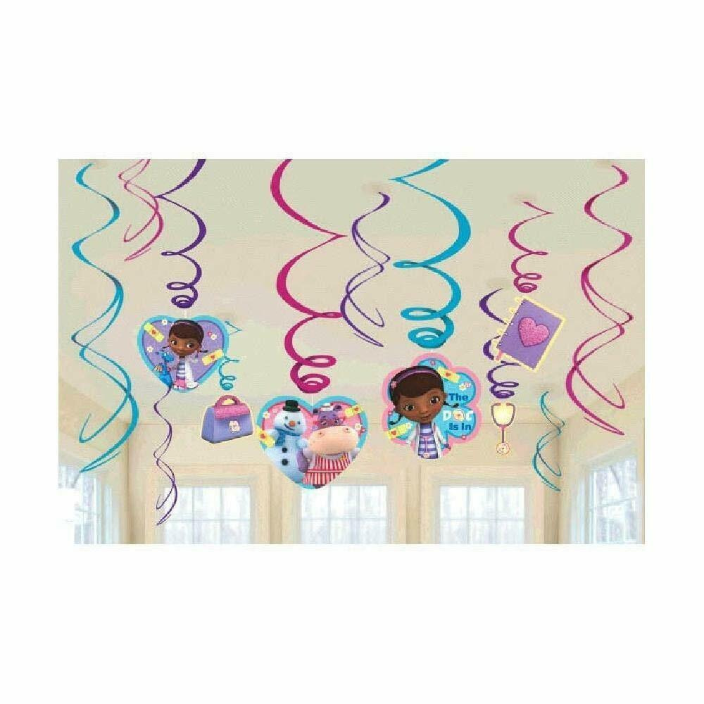 Doc McStuffins Birthday Party Foil Swirl Decorations (12 Pieces)