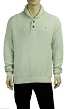 NEW TOMMY HILFIGER ADLER SHAWL COLLAR RAGLAN OATMEAL COTTON PULLOVER SWE... - £35.24 GBP