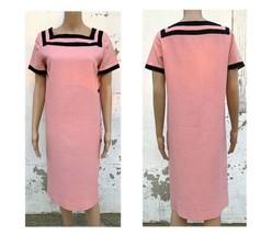 Retro Dress Summer Maxi Day Wedding Garden Party Pink Linen Size Medium - $97.47