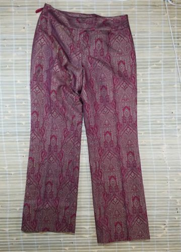 INC INTERNATIONAL CONCEPTS STYLISH PANTS SIZE 8 RED GOLD PAISLEY VINTAGE