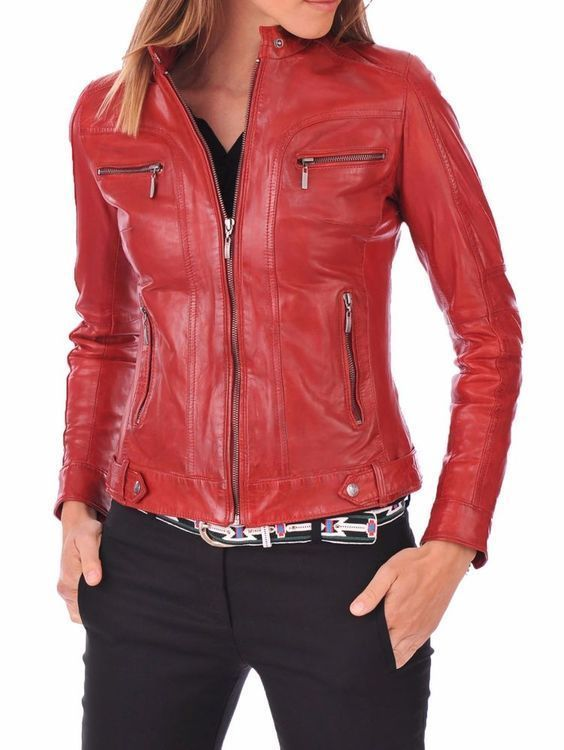 WOMEN BIKER MOTORCYCLE CASUAL SLIM FIT RIDER REAL GENUINE  LEATHER JACKET-A20
