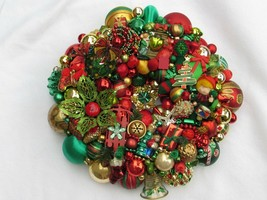 Vintage Christmas ornament wreath 18 Inch Red Green Gold Germany Glass 3... - $222.74
