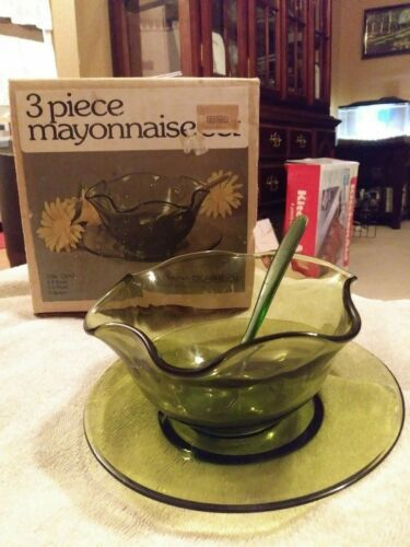 Indiana Glass 3 Piece Mayonnaise Set #2128 Olive Green In Original Box
