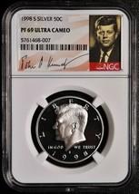 1998 S SILVER KENNEDY HALF DOLLAR 50¢ COIN NGC PF69 ULTRA CAMEO SKU# C80