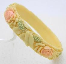 Carved Celluloid Rose Daisy Pastel Floral Flower Pattern Bangle Bracelet  - $98.99