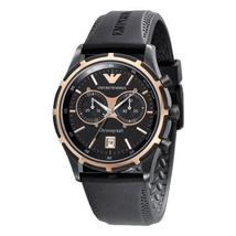 Emporio Armani AR0584 Black & Gold Chronograph Round Dial Sportivo Watch - $189.99