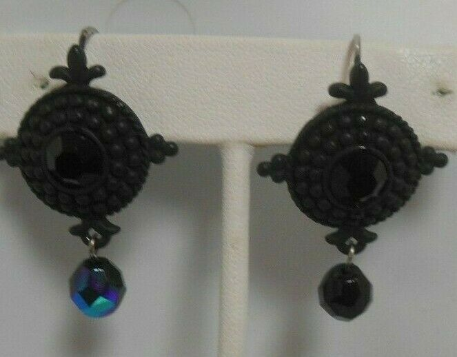 Primary image for Vintage VENUE USA Silver-tone Black Glass Lever-back Dangle Earrings