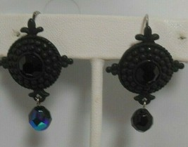Vintage VENUE USA Silver-tone Black Glass Lever-back Dangle Earrings - $18.80