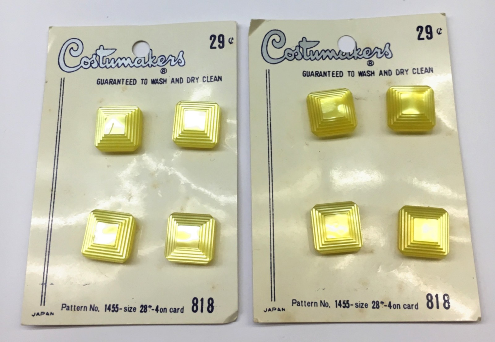 "Primary image for Set 8 Costumakers 1455 Buttons 9/16"" Yellow Lucite? Japan Vintage Card New"